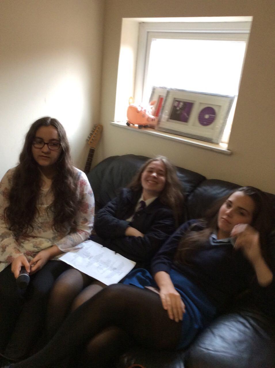 Charlotte, Chloe & Zoe waiting to record GCSE ensembles