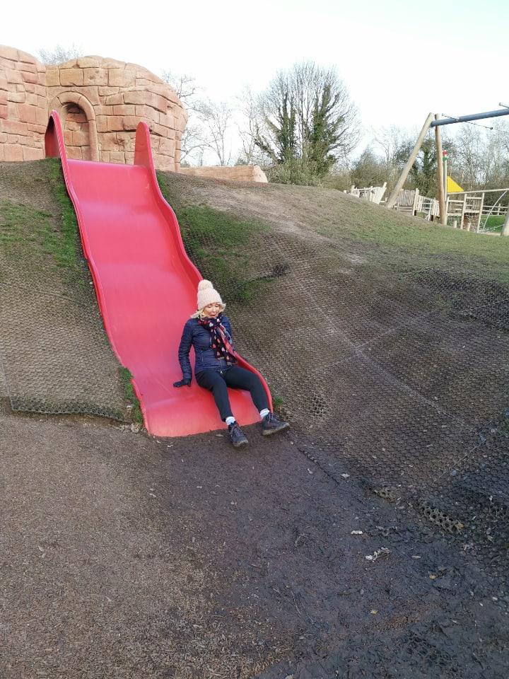 julie donald bottom of a slide