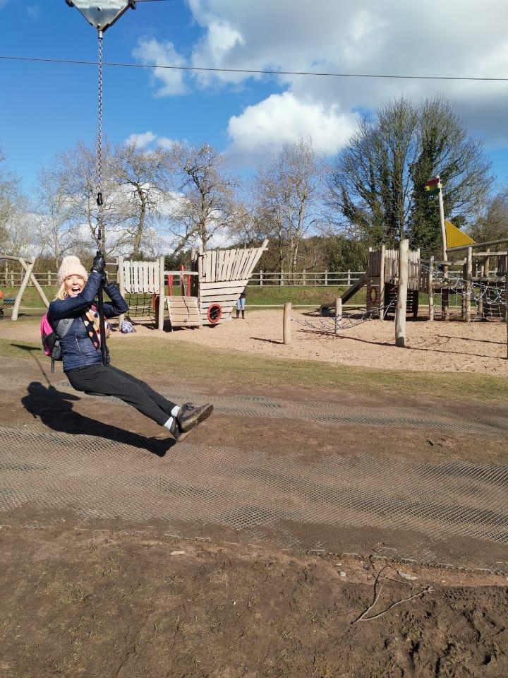julie donald on a pulley slide