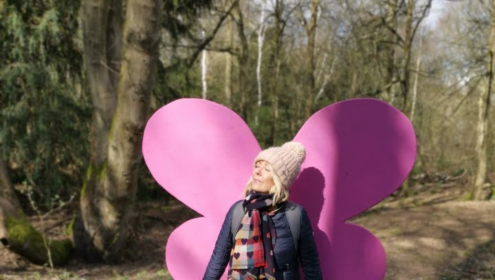 julie donald sat by butterfly wings at rufford park